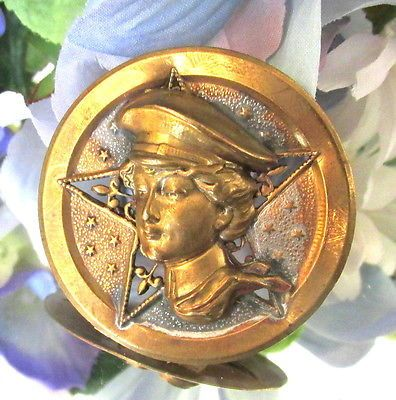 Large Victorian Picture Button Woman w Military Hat DONE in High Relief B20 | eBay
