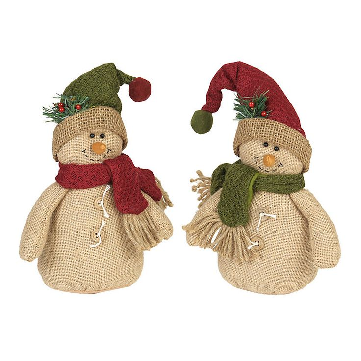 Rustic Burlap Snowmen   Kirklands