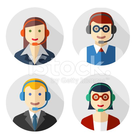 Male and female call center avatars royalty-free stock vector art