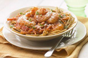 Get delicious restaurant-quality pasta in 20 minutes with this amazingly simple garlic-shrimp recipe.