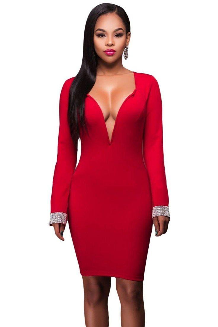Elegante Abito Vestito da donna aderente con scollo a cuore e spacco Sexy Rosso …