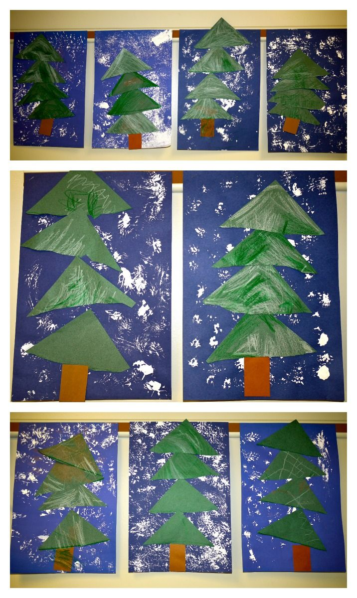 PreK winter shape trees with pine branch printed snowflakes. from the colors of my day blog.