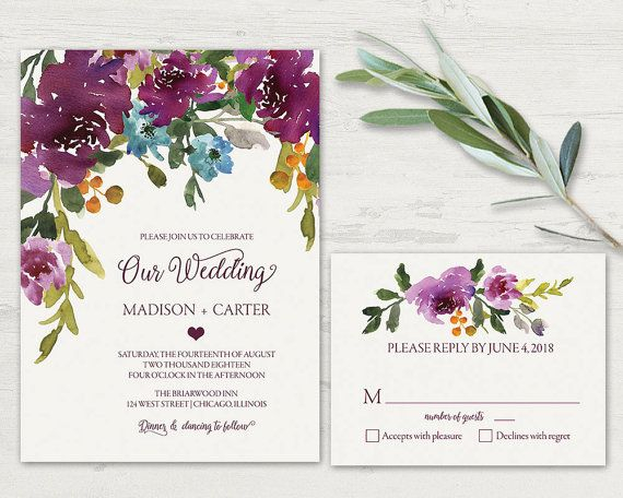 Floral Wedding Invitation Printable. Rustic chic wedding invitations for wine and wildflower weddings with florals as a centerpiece of the design. The wedding invitation has cream background with cascading watercolor wildflowers and is completed with contemporary fonts and stylings.