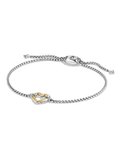 Y2X81 David Yurman 14K Gold Valentine Hearts Station Bracelet