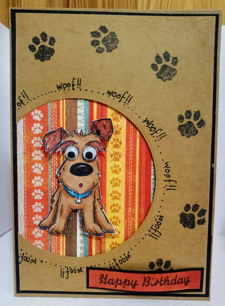 handmade birthday card using Tim Holtz crazy dogs .... kraft ... splotchy footprints ... negative space circle off-the-edge backed in bright stripes for the dog focal point ...