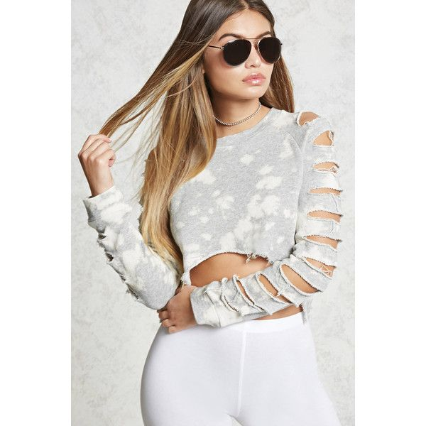 Forever21 Bleach Dye Destroyed Sweater ($23) ❤ liked on Polyvore featuring tops, sweaters, heather grey, crop top, cut out shoulder sweater, cropped crew neck sweater, cut out shoulder top and distressed sweater