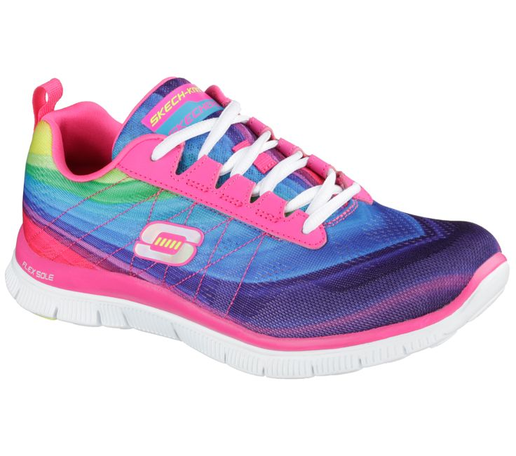 Get a spectrum of fun color and comfort with the SKECHERS Flex Appeal -  Pretty Please shoe. Skech Knit Mesh and synthetic upper in a lace up  athletic ...