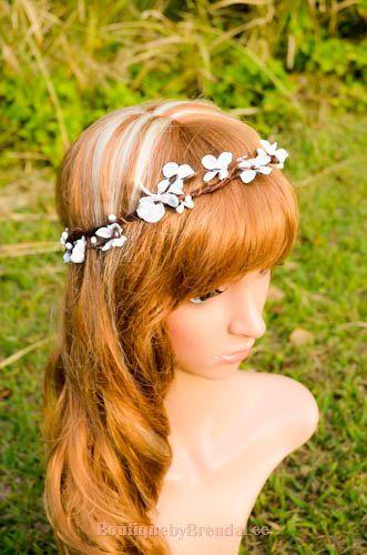 White flower head wreath floral crown hair by BoutiquebyBrendaLee, $35.90