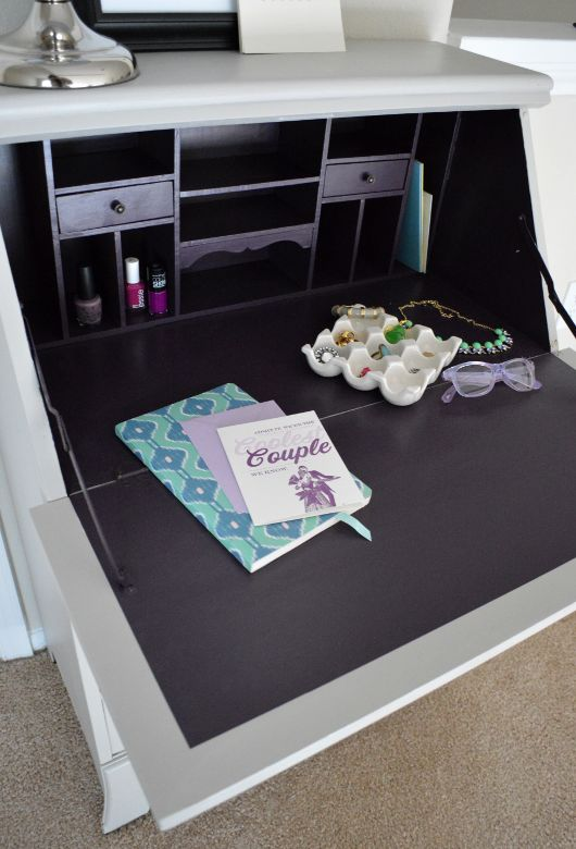 This is a GENIUS idea for all of my hair/makeup stuff! Home Design: Secretary Desk Makeover