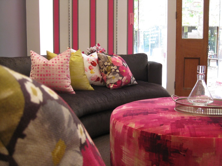 The Beautiful Room Studio is dressed in pink thanks to Marco Fabrics Ferdinand Wallpaper and gorgeous Harlequin Impasto Amoura fabric.  www.beautifulroom.com.au