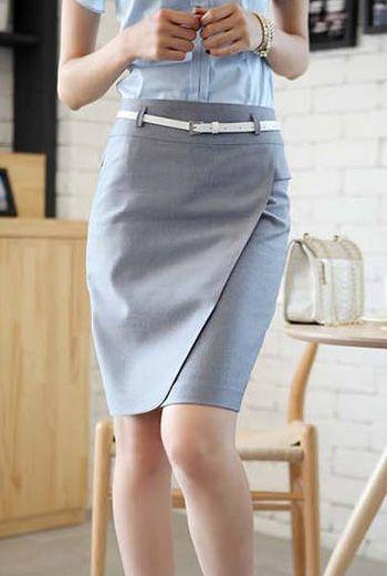 Elegant OL High Waist Solid Grey Sheath Knee Length Skirt