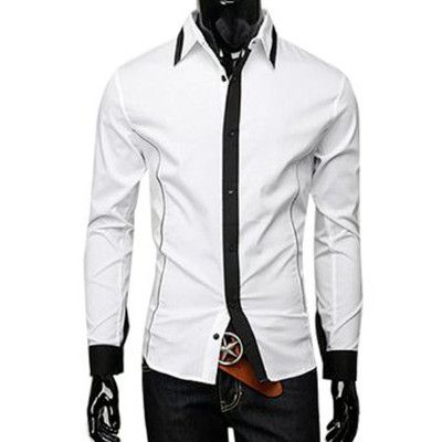 Mens Casual Single Breasted 2012 NEW Stylish Slim Fit Shirt Tops White S