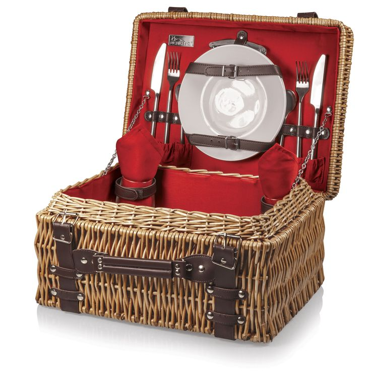 The Champion picnic basket has deluxe service for two, including two wine glasses, two porcelain plates, stainless steel flatware, and two napkins that match the basket's interior. Made of willow with