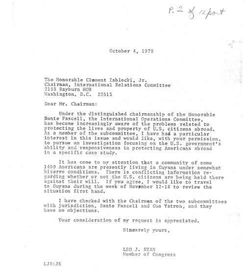 congress in the archives honoring representative leo j ryan letter of permission to