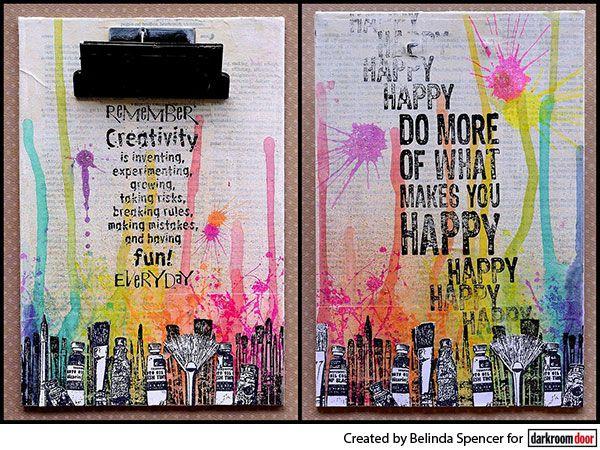 Altered clipboards using Darkroom Door Art Studio Border Stamp and Quote Stamps.