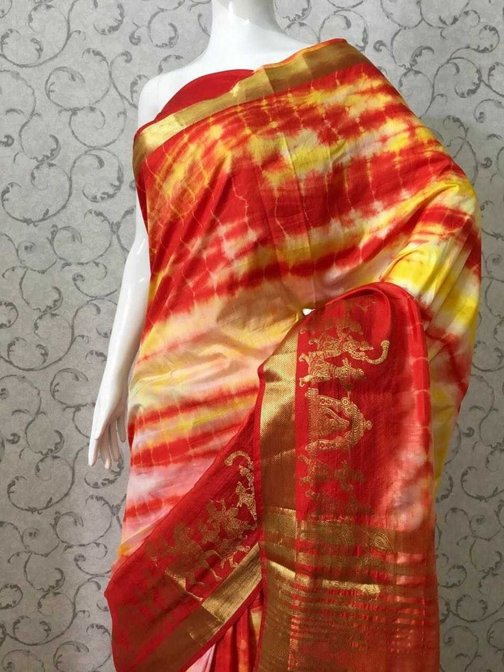 Art Silk shibori saree with blouse... Only dry wash