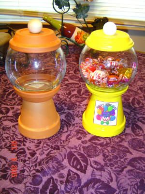 "Make a gumball ""machine"" from some flower pots, saucers, and a round bowl from a dollar store."
