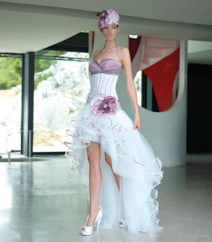 Sexy Weiß Lila Herzenform Hochzeitskleid kurz Brautkleid Gr 34 36 38 40 42 44++ in Kleidung & Accessoires, Hochzeit & Besondere Anlässe, Brautkleider | eBay!