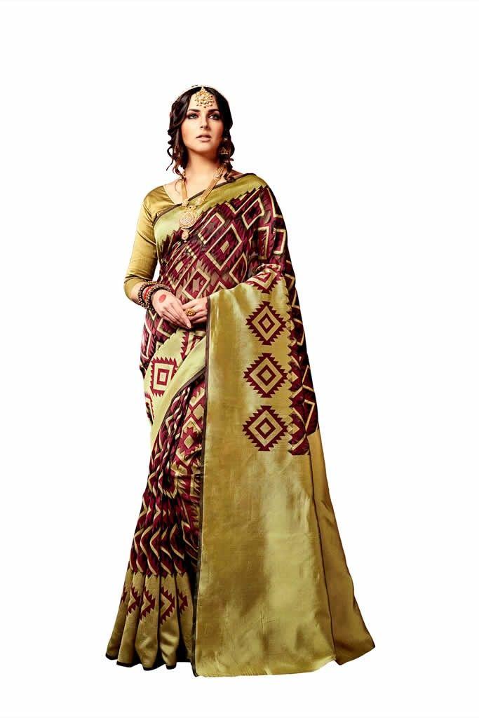 buy saree online Mehndi Green Colour Top dyed Weaving Printed Causal Wear Saree Buy Saree online - Buy Sarees online