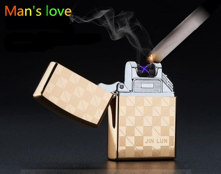 High Quailty Cross Double Arc Lighter Case USB Pulse Windproof Lighters Electronic Metal Men Cigarette lighter Box Gifts-JL208 ** Click the image for detailed description