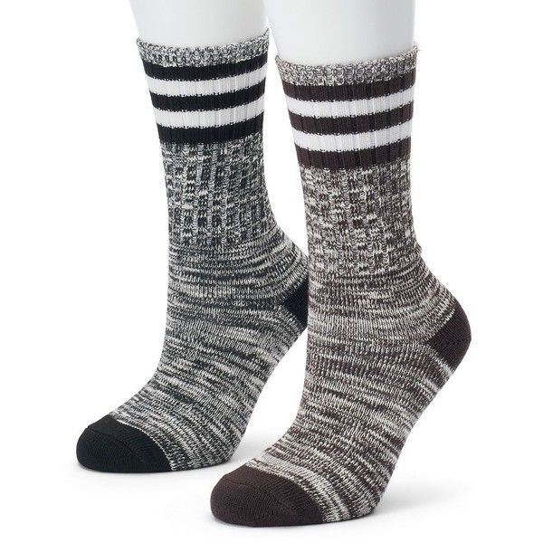 Women's Champion 2-pk. Outdoor Performance Rugby Stripe Crew Socks ($15) ❤ liked on Polyvore featuring intimates, hosiery, socks, brown, sweat wicking socks, champion socks, crew length socks, striped crew socks and patterned socks