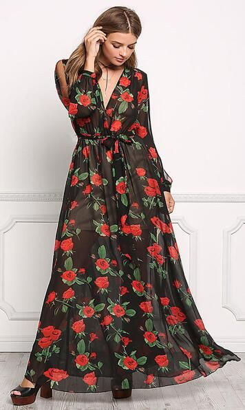 Floral Chiffon Maxi Dress