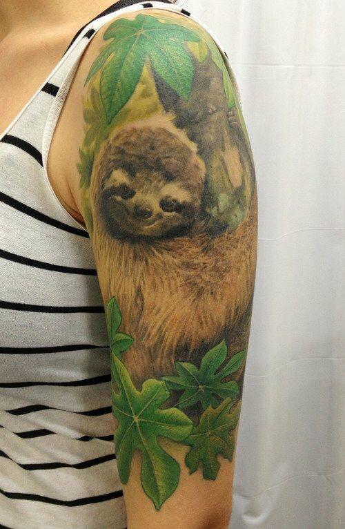 sloth tattoo arm sleeve sloth obsession pinterest sloth tattoo tattoo arm and tattoo. Black Bedroom Furniture Sets. Home Design Ideas