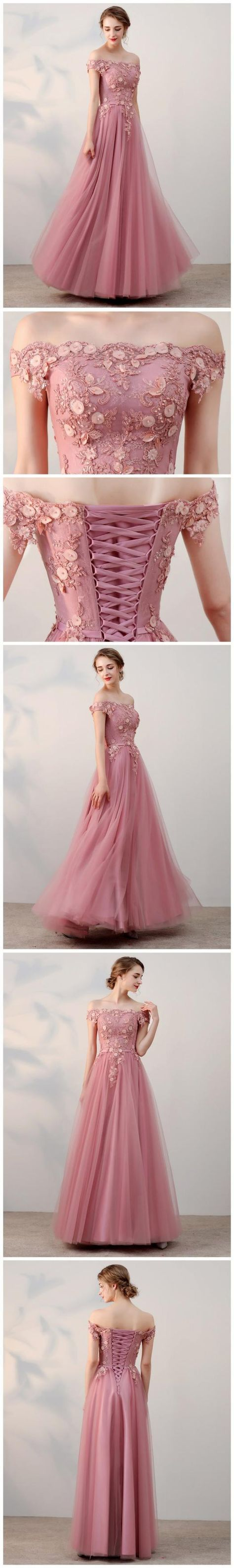 Chic A-line Off-the-shoulder Pink Applique Tulle Modest Long Prom Dress Evening Dress