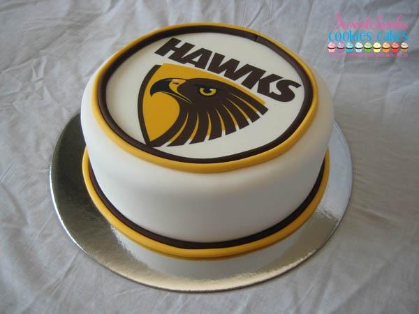 Hawthorn Hawks AFL Cake  www.sweetcheekscookiesandcakes.com.au