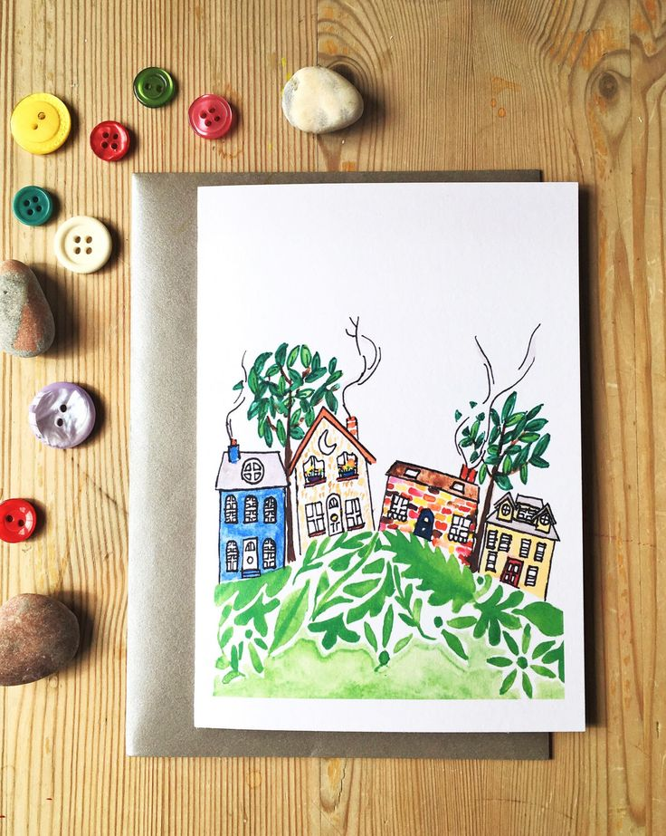 Houses, hill, neighbourhood. Hand-painted A6 greeting card for any occasion: new home, Birthday, thank you, note card. Purple Watermelon.