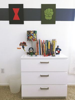 Avengers-Themed Kid's Bedroom Decor (With DIY Touches). Click or visit FabEveryday.com to see details on the DIY projects and links to purchase the Iron Man, Captain America, and Avengers boys room decor.