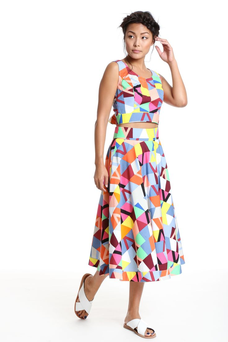 Full circle geo print maxi dress