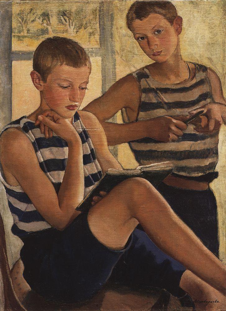 Zinaida Serebriakova - Boys in sailor's striped vests (1919)