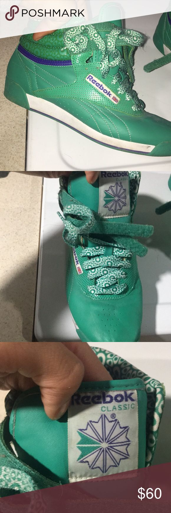 Worn one green classic reebok high tops Almost brand new Reebok Shoes Sneakers