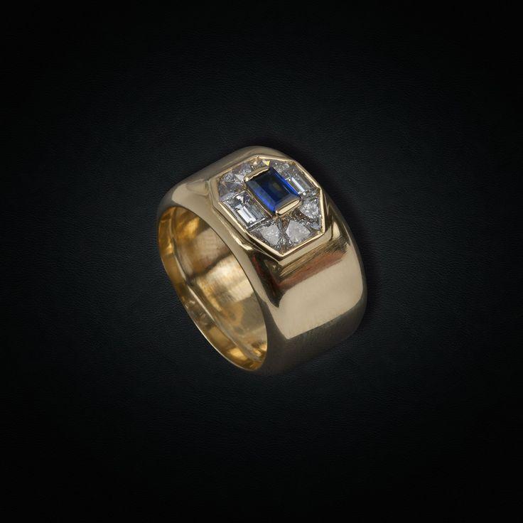 Fun Diamond & Sapphire Chevalier in 18K Yellow Gold