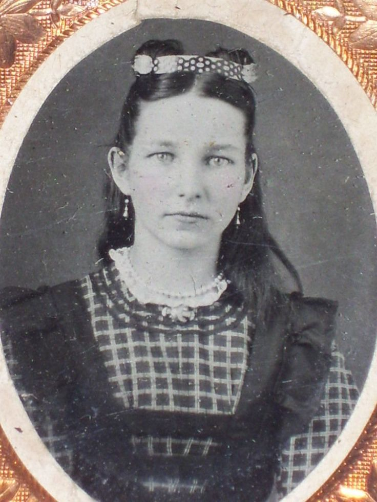 Antique Civil War Cased Matted Framed 9th Plate TINTYPE Photo Pretty Young Girl | eBay