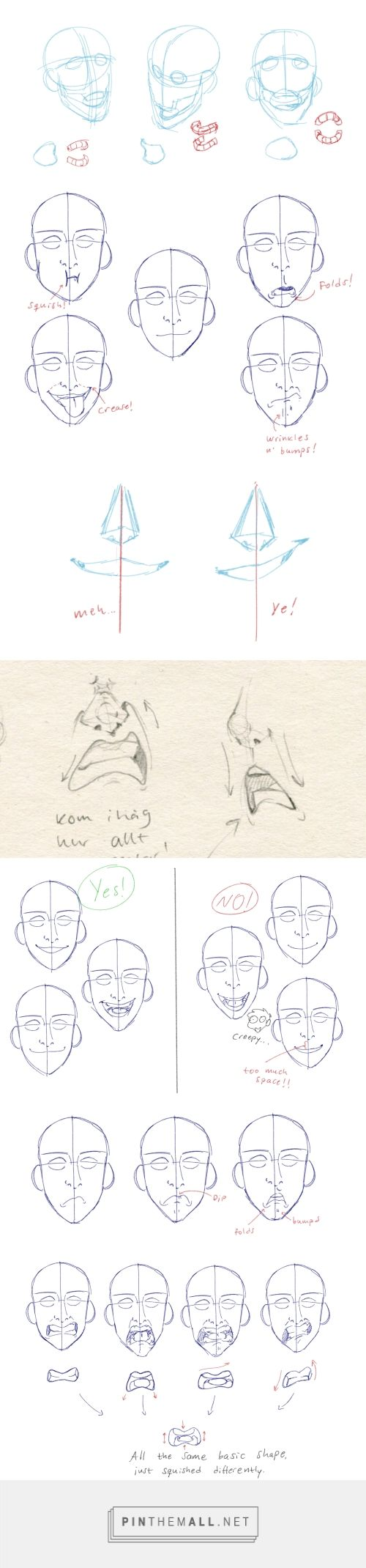 How to show expression with the mouth! by elviras-teckningar  #tumblr #drawing #tutorial #expressions #drawingtips #drawingtutorial #characterdesign - created via https://pinthemall.net