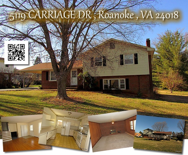 5119 Carriage Drive, Roanoke Virginia Offered at $165,000.  Call Chris Kocher of Park Place REALTORS for more details (540) 588-2579