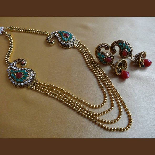 Effective Blue and Red Color Gold Plated Necklace Set