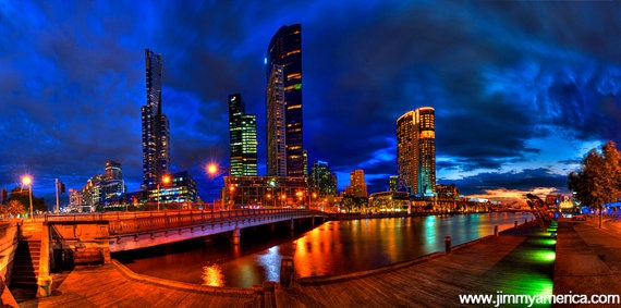 Southbank at Night 775 x 33 Matted Photographic by JimmyAmerica
