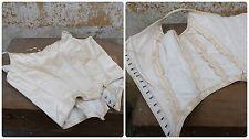 старинный 1850s/1900s французский викторианский корсет лиф без рукавов Bal блузка кремовая