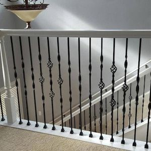 Best Wm Coffman Ribbon Series 44 In Satin Black Wrought Iron Classic Stair Baluster At Lowes Com In 400 x 300