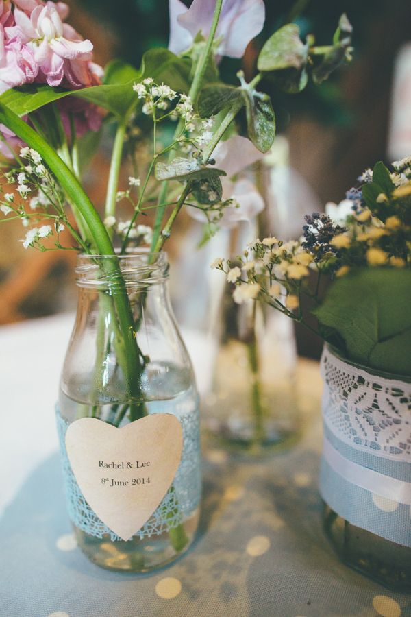 Milk Bottle Lace Personalised Flowers Charming Thoughtful Bronte Novel Inspired Wedding http://www.mattwillisphotography.com/