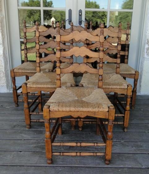 Ladder+Back+Chairs+With+Rush+Seats | ... French Country Tall Ladder Back Dining Chairs ~ Rush Seat ~ Serpentine
