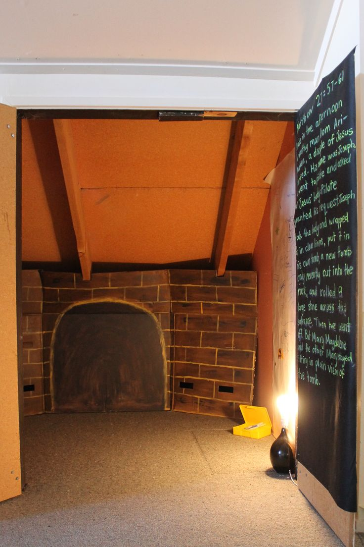 6. Jesus is placed in the tomb (Matthew 27:57-61) Spend some time inside the tomb thanking God. Easter Journey, stations of the cross, provocation, kids church, sunday school, emergent church, fresh expressions.