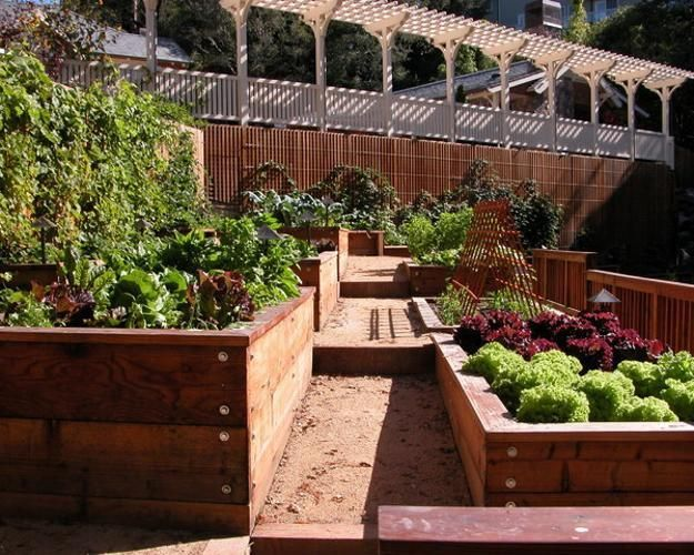 slope hill garden design with raised beds