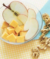 Fast  Healthy Breakfast on the go:  Fruit and Cheese  A balanced, easy-to-assemble make-ahead morning meal: Grab an apple, wrap 1 to 2 ounces of Cheddar in plastic, and toss  cup of fiber- and protein-rich walnuts into a resealable plastic bag. No wonder Robby is so skinny.