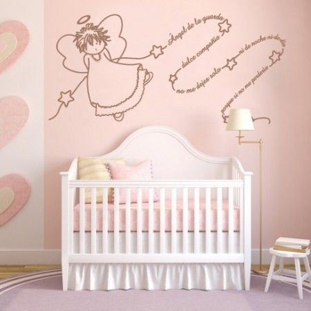 Vinilos decorativos infantiles de ángel de la guarda con texto para decoración de habitaciones infantiles con vinilos llenos de ternura y alegría. Pegatinas de paredes