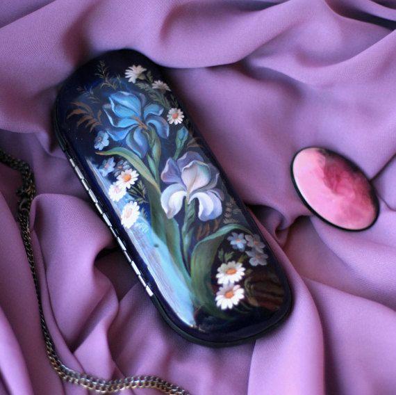 Flower glasses case flower irises russian lacquer box designer glasses case…