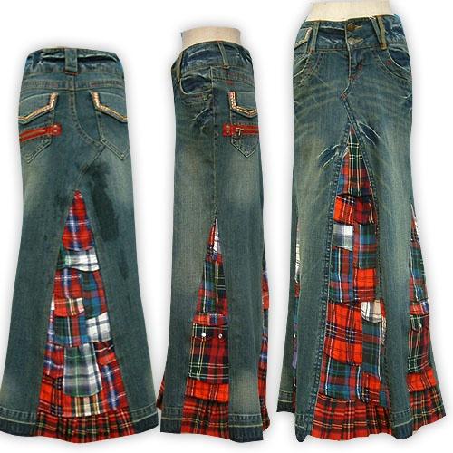 blue jean skirt idea
